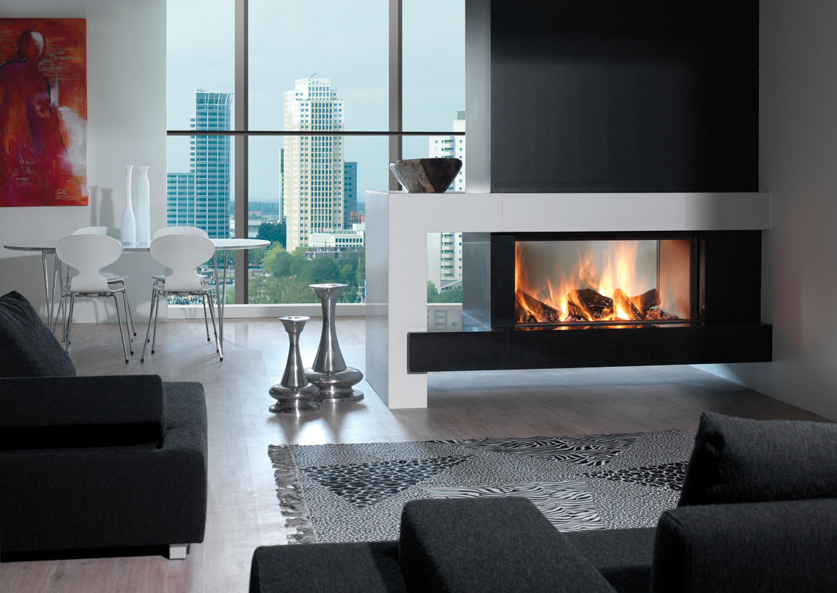 kal fire heat pure 105 double face les ma tres du feu chemin e po le bois po le. Black Bedroom Furniture Sets. Home Design Ideas